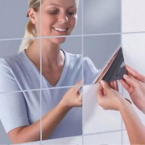 16PCS Bathroom Mirror Tile Wall Sticker Square Self Adhesive Room Decor V2Z