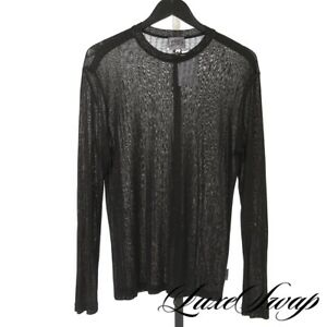 Vintage 1990s Y2K Versace Jeans Couture Black Sheer Draped Slinky Mesh Shirt S