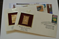 American Lotus & Common Raven 22kt Gold Golden Stamp Replicas U.S STAMPS FDC