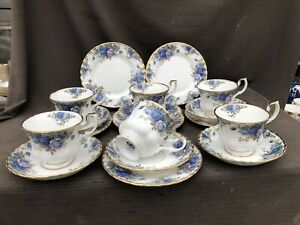ROYAL ALBERT MOONLIGHT ROSE Trios X 6 Cups.Saucers Plates