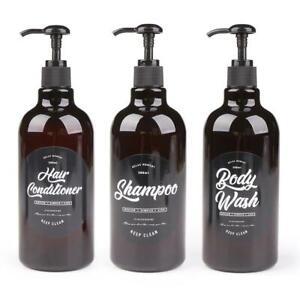 3 In 1 Set Bathroom Soap Dispenser 500ml Shampoo Press Pump Bottles Body Wash