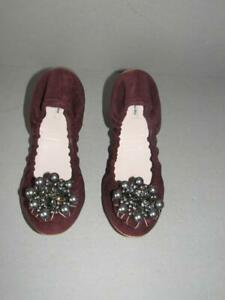 AUTHENTIC NEW MIU MIU 39.5 BURGUNDY SUEDE JEWELED BALLET FLATS SHOES NIB $695