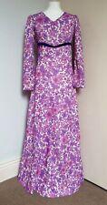 Vintage 60s 70s Purple & Pink Flower Power Hostess Maxi Dress Hippy Glam 10 12