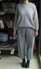 Grey High Waist Woolen Wide Leg Tapered Pants 10