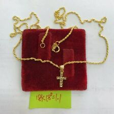 Gold Authentic 18k saudi gold cross necklace 18 incheschain,,f