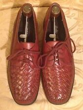 Auditions Womens Woven Leather Stitched Chestnut Color Lace Up Loafer Sz 10 1/2B