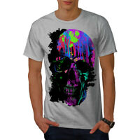 Wellcoda Skull Artsy Mens T-shirt, Neon Night Graphic Design Printed Tee