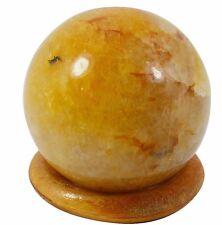 Yellow Calcite Stone Sphere Ball Gemstone Table Decor Reiki Spiritual Balancing