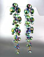 STUNNING Mystic Fire Aurora Borealis Crystals Long Chandelier Earrings Pageant
