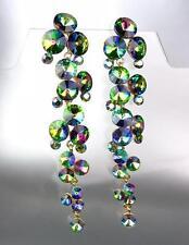 STUNNING Vitrail Czech Czech Crystals WATERFALL Earrings Queen Pageant Bride