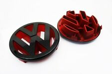 Gloss Black / Red Front Grille Emblem for VW Golf MK5 2006-2009