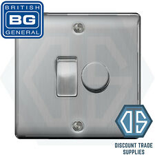 BG Brushed Steel 2 Gang Switch 1x LED Dimmer 1x 1 or 2 Way Custom Grid