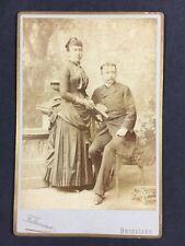 Victorian Cabinet Card Photo: Couple: Fabronius: Bruxelles: Lady Fan