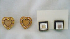 Lot 2 pr pierced earrings pink enamel & rhinestone hearts & black & white square