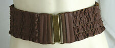 "Women's Wide Leather BROWN Cummerband Ruffle Ribbon Fashion Belt 3 1/2""  S M"