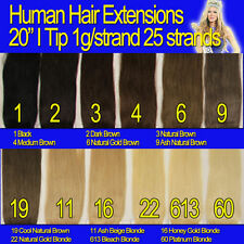 20 inches I Tip 100% remy Human Hair Extension 25 strands 1g/strand