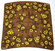 *Jacqmar scarf - brown with yellow flowers - 76cm x 73cm* (F53)