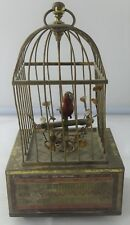 Vintage Made in Germany Brass Ornate Cage Singing Bird Music Box Circa 1955 A948