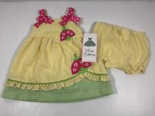 Rare Editions Sun Dress 12M Yellow and Green Seersucker Pink Ladybug Panty Bows