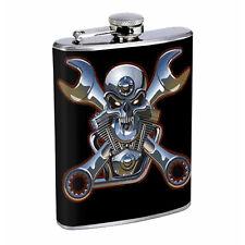 Flask 8oz Stainless Steel Skull Design-009 Whiskey