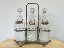 More details for antique silver plate & cut glass tantalus