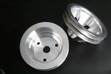 Sbc Small Block Chevy Aluminum 2 3 Groove Long Water Pump Pulley Kit 327 350