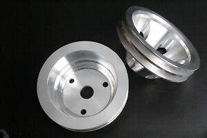 SBC Small Block Chevy Aluminum 2 / 3 Groove Long Water Pump Pulley Kit 327 350