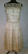 1950s Howard Wolf Champage Color Spaghetti Strap Lace Dress with Lace Jacket