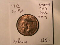 1912 GREAT BRITAIN Half Penny Ch AU Lustrous Original British UK George V Coin