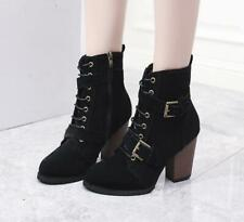 Women Ankle Boots Faux Suede Round Toe Buckle Lace-up High Heel Shoes US4.5-10.5