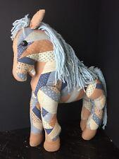 "Vintage Pony Horse Stuffed Animal Quilt Scrap 1940's Large 21""X16"" Very Rare"
