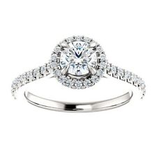 1.00 Carat D VS1 Ideal Cut Genuine Diamond Solitaire Halo Ring in 14K Gold