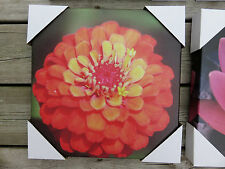 Outdoor Canvas Wall Plaque Garden Decor 12in.x12 in yard decor Orange Flower
