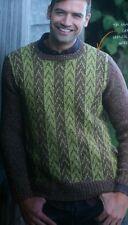 "knitting pattern Mens Boys Fair Isle Crew Neck Sweater XS to XL 36""-54"" chest"