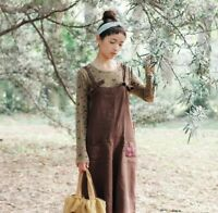 Robe tablier salopette lin brodée retro Mori ancienne shabby chic boheme vintage