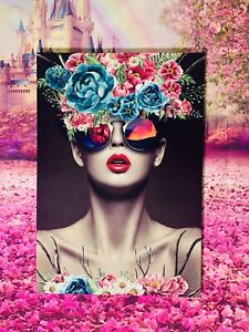 Abstract Flower Girl Pictuer Print Canvas Fabric Framed 80x60