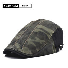 100% Cotton Men's Black Camouflage Ivy Hat Flat Cap Newsboy Gatsby Cap Golf Hat