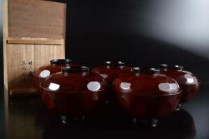 L8010:Japanese Wooden Lacquer ware TEA BOWL/dish of soup 5pcs, auto w/signed box