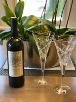 """MILLER ROGASKA 2 Clear Crystal  RAVELLO Trumpet-Shaped WINE GLASS  8 7/8"""" New!"""