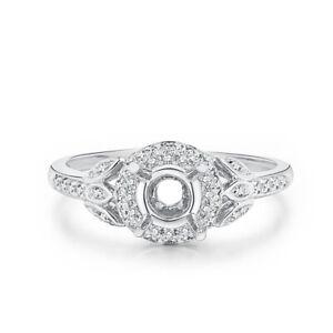 Semi Mount Round 5mm .3CT Natural Diamond Wedding Ring Engagement 14K White Gold