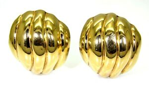 Very Large Domed 9ct Yellow Gold Clip On Stud Earrings