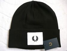 Genuine FRED PERRY Black Cuff Patch Logo BEANIE HAT Toque UNISEX New Tags