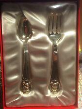 ~*Fao Schwarz*~Keepsake Silver Plated~Teddy Bear~ 2 Piece~Fork & Spoon Set~Box