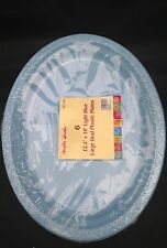 12 x  light blue   disposible plastic ovel plate  32 x 21 cm  for all occasion