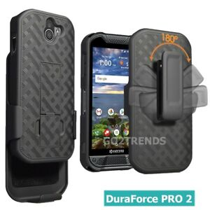 for AT&T Kyocera DuraForce Pro 2 LTE Strong Belt Clip Holster Combo Case - Black