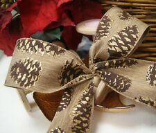 Christmas Luxury Wired Edge Glitter Pinecones Ribbon * 63mm wide * ByThe Metre