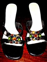 Madeline Black & Rhinestone Studded Wedge Sandels 6M