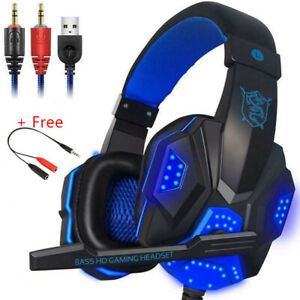 3.5mm Gaming Headset USB Wired LED Headphone Stereo with Mic For One PS4 PC
