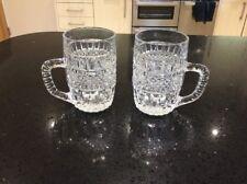 2x Cut Glass 1/2 Pint Tankard Glasses
