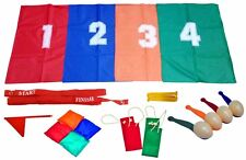 SCHOOL SPORTS DAY GAMES SET EGG & SPOON, 3 LEGGED & SACK RACE CHILDRENS OUTDOOR